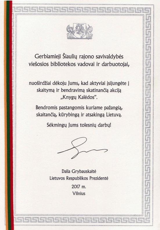 LR Prezidentės padėka